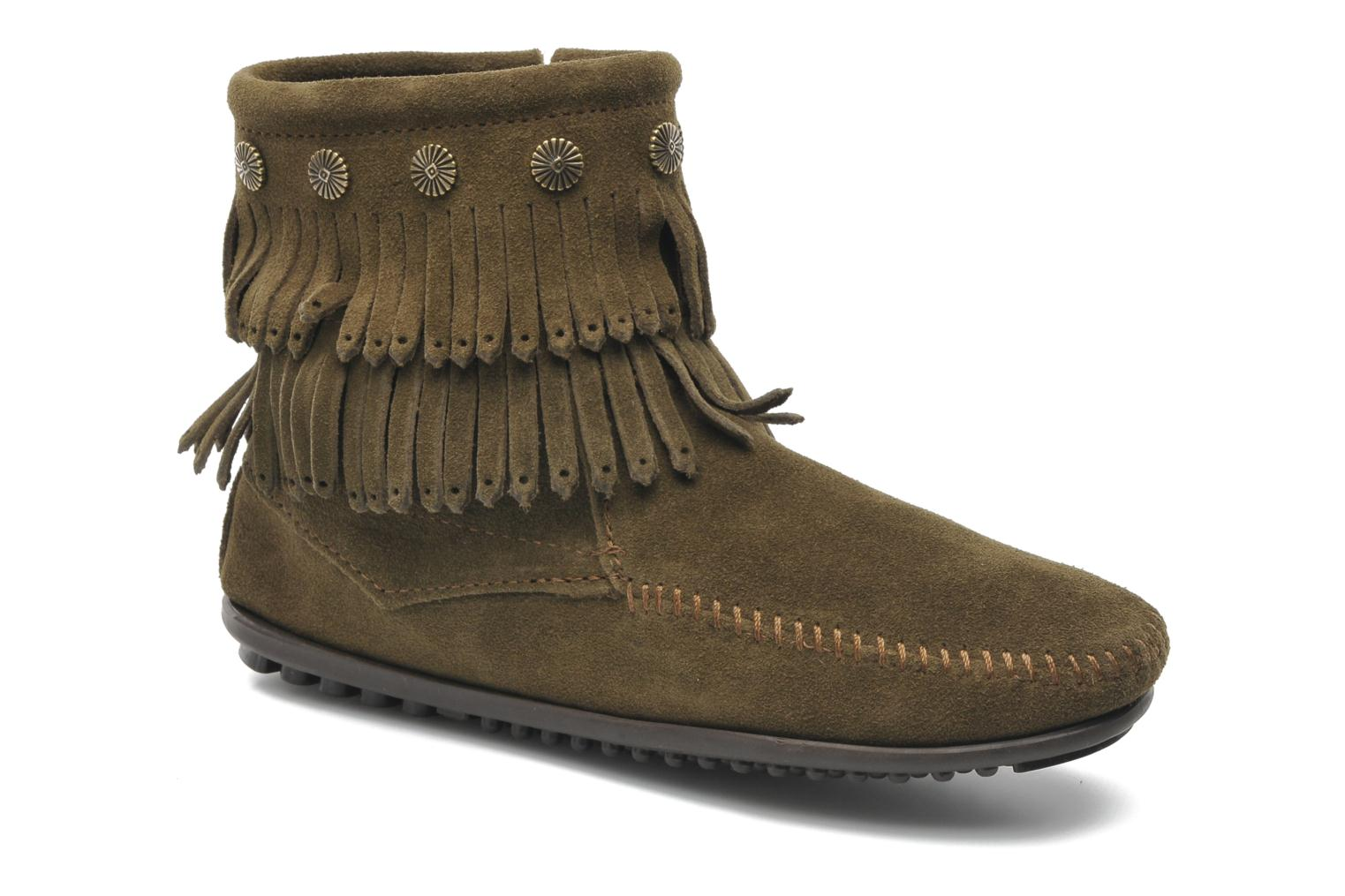 Ankle boots Minnetonka DOUBLE FRINGE BT Green detailed view/ Pair view