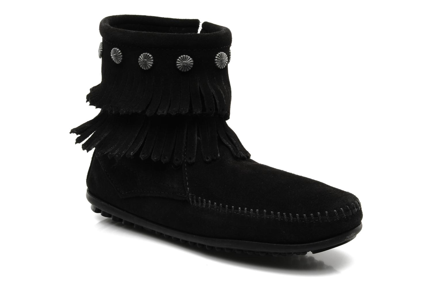 Ankle boots Minnetonka DOUBLE FRINGE BT Black detailed view/ Pair view