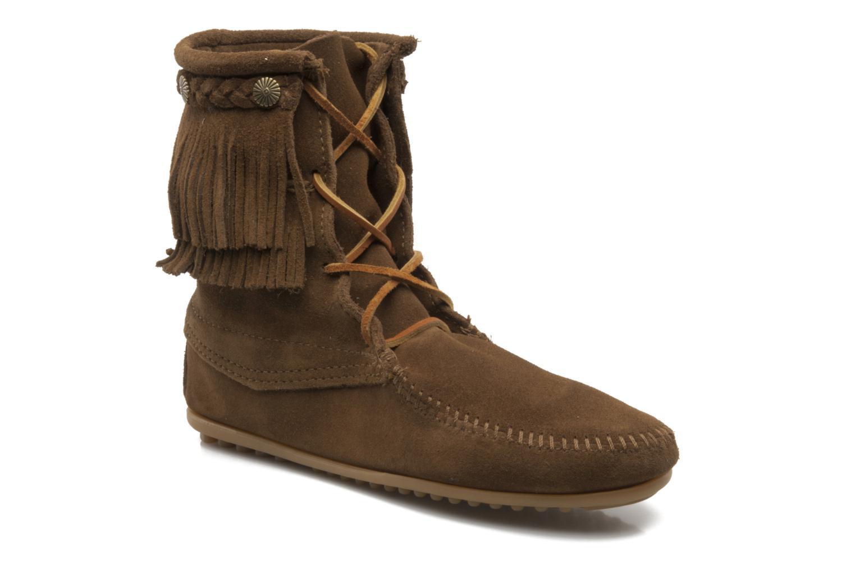 Ankelstøvler Minnetonka DOUBLE FRINGE TRAMPER Brun detaljeret billede af skoene