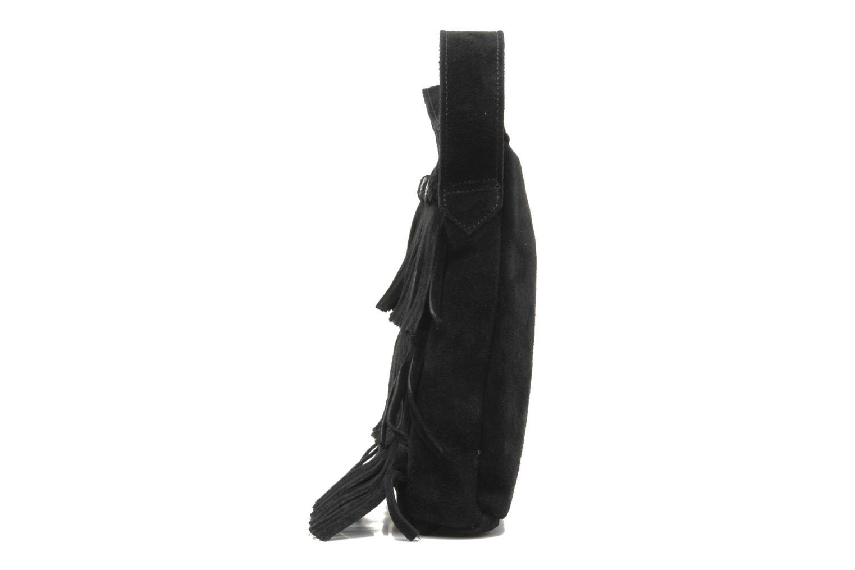 CROSS BODY FRINGE BAG Black Suede