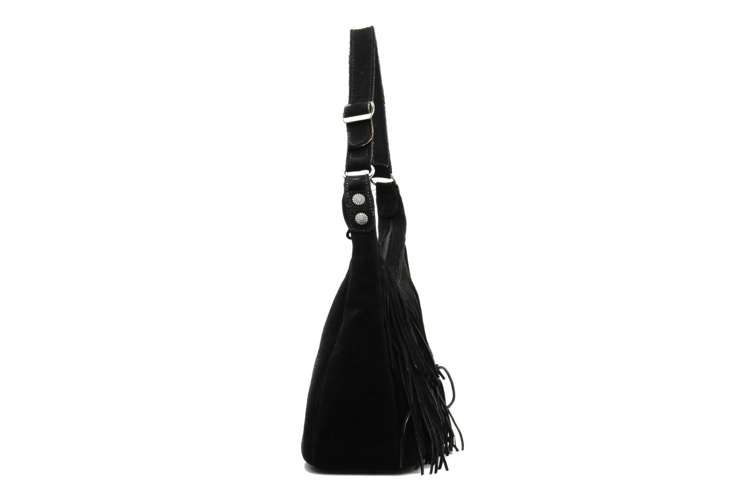HOBO FRINGE BAG Black Suede