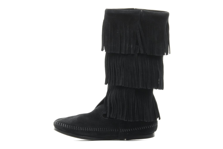 Bottines et boots Minnetonka 3 LAYER FRINGE BOOT Noir vue face