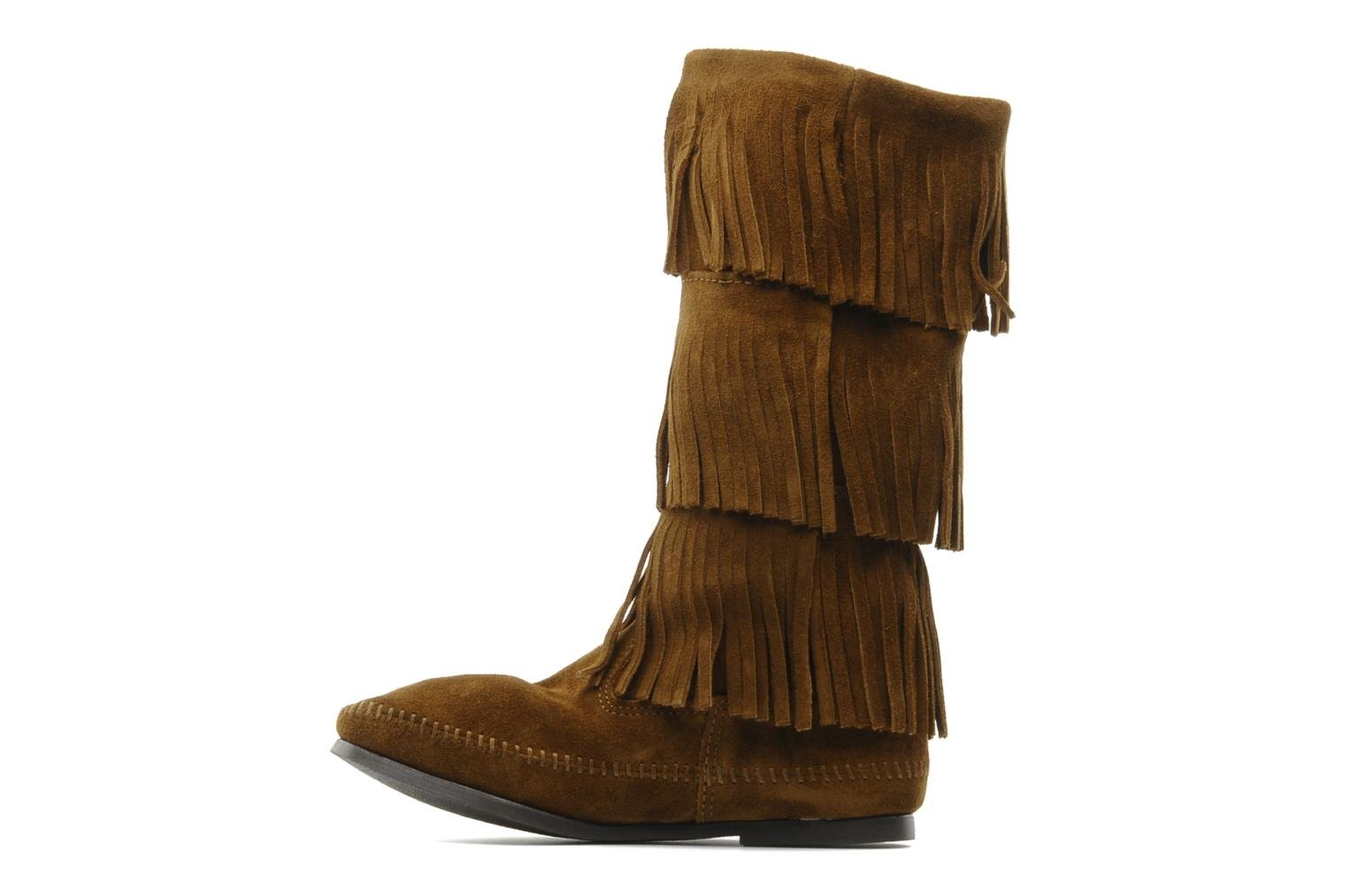 Ankle boots Minnetonka 3 LAYER FRINGE BOOT Brown front view
