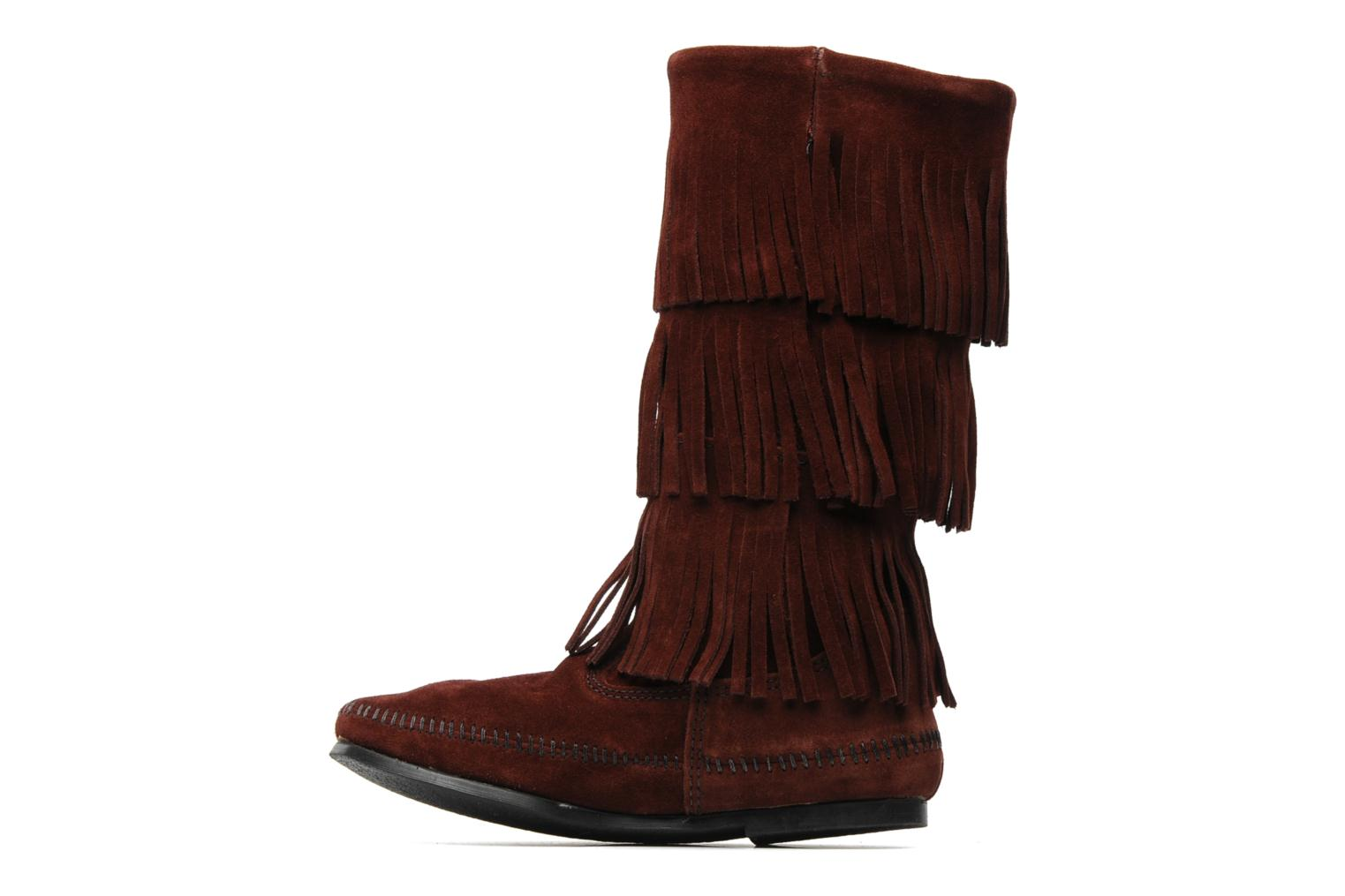 Ankle boots Minnetonka 3 LAYER FRINGE BOOT Burgundy front view