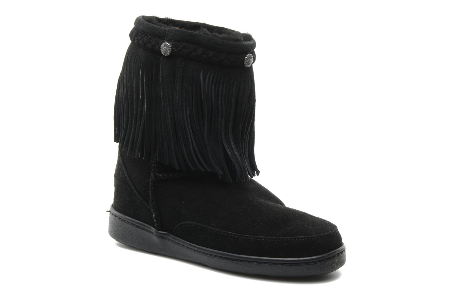 Ankle boots Minnetonka FRINGE CLASSIC PUG BT Black detailed view/ Pair view