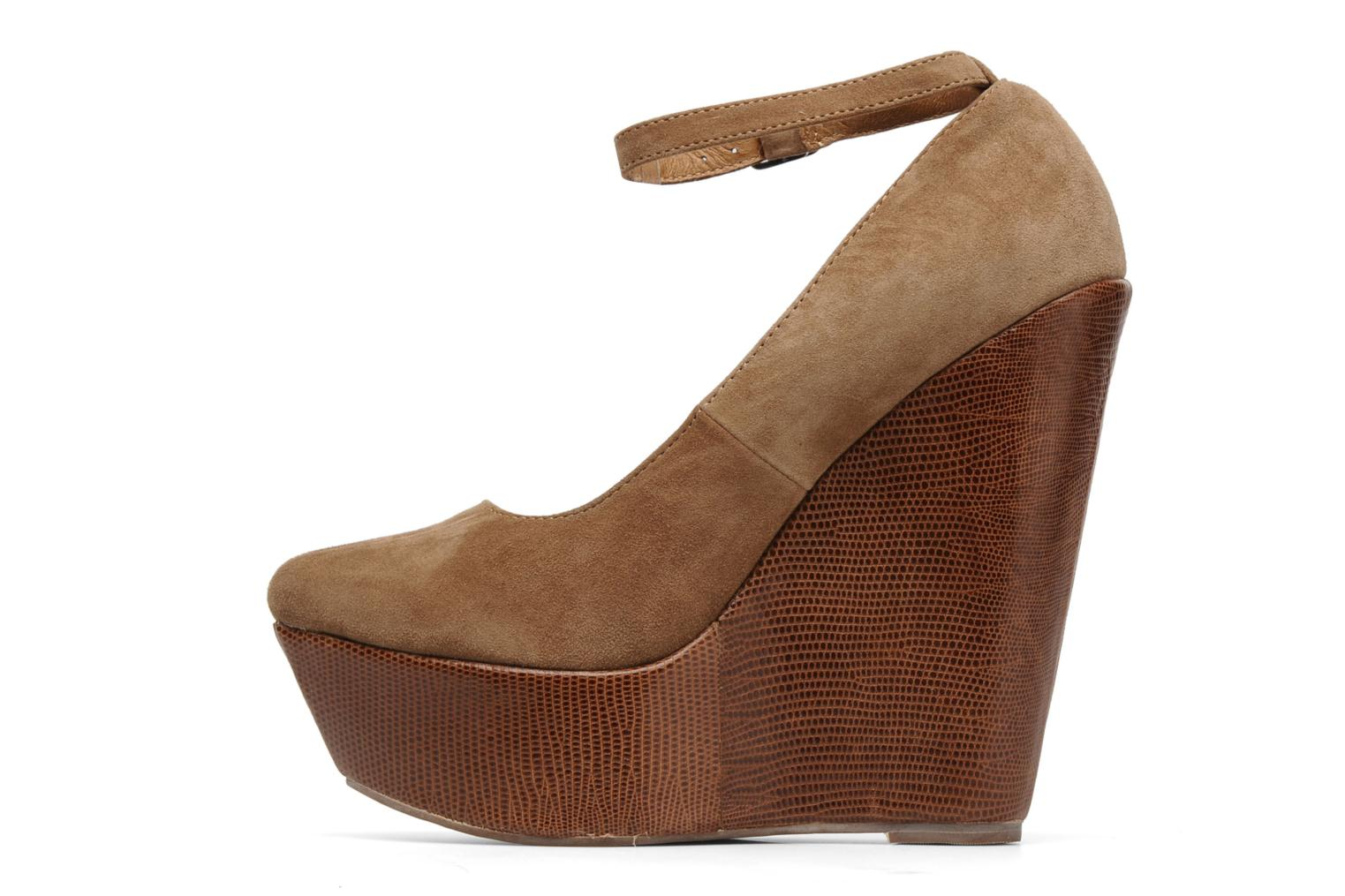 PIZAN NATURAL SUEDE/TAN LIZZARD WEDGE