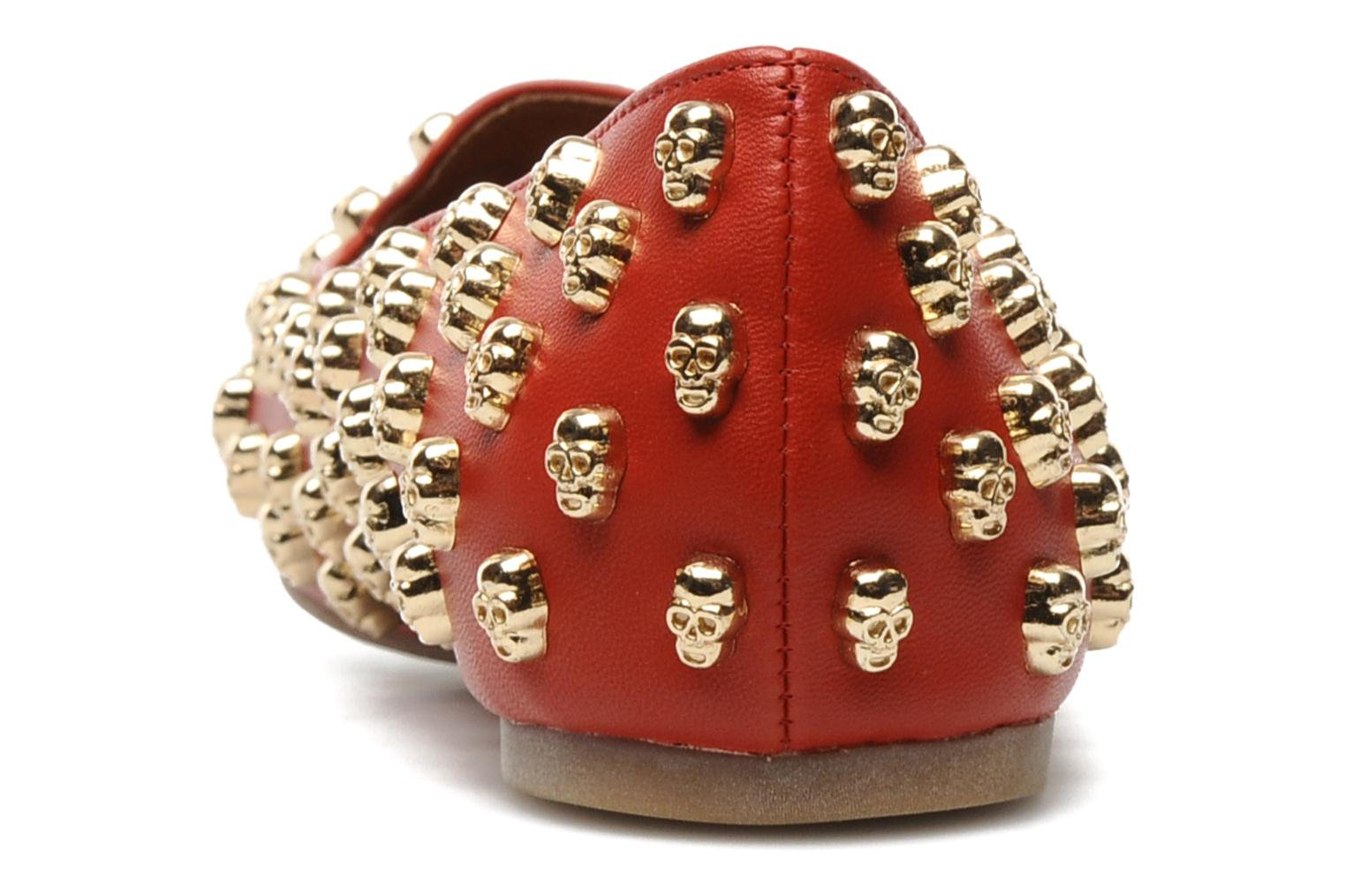 Loafers Jeffrey Campbell Skulltini Red view from the right