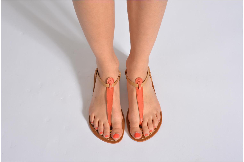 Sandales et nu-pieds Le temps des cerises Chloe Orange vue bas / vue portée sac