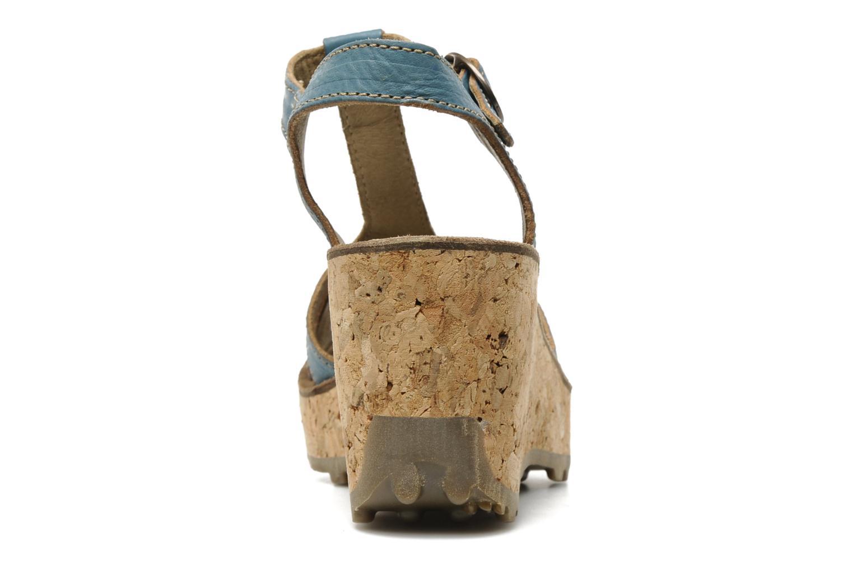Sandales et nu-pieds Fly London Gold Bleu vue droite
