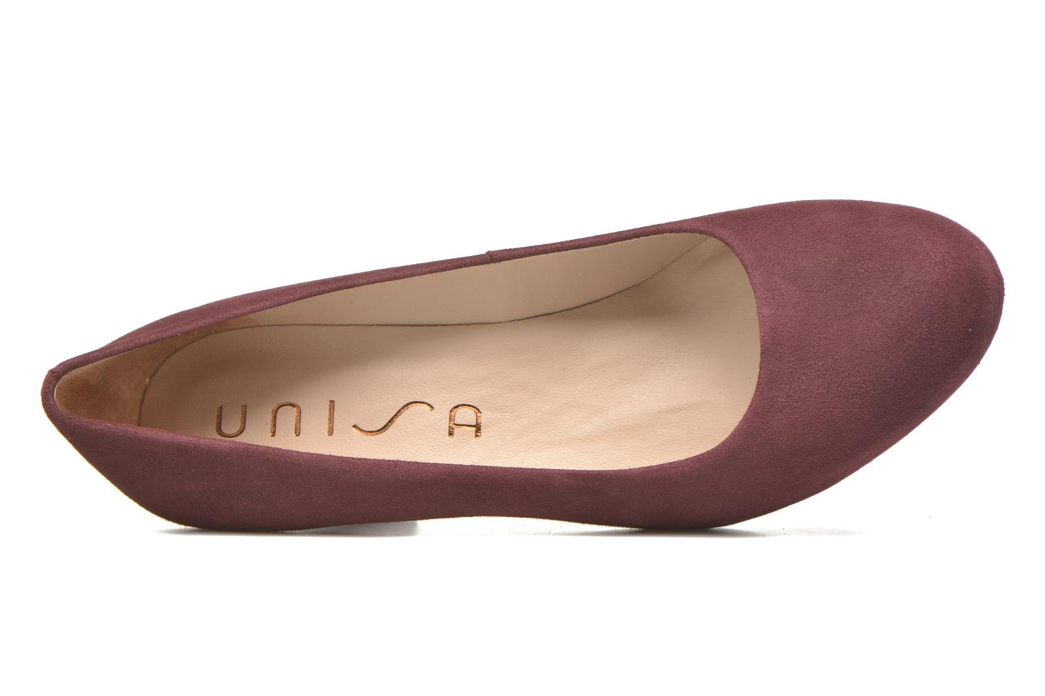 High heels Unisa Numis Burgundy view from the left