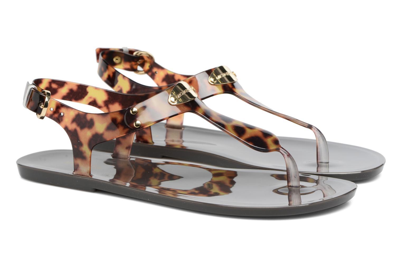 Sandals Michael Michael Kors MK Plate Jelly Brown 3/4 view