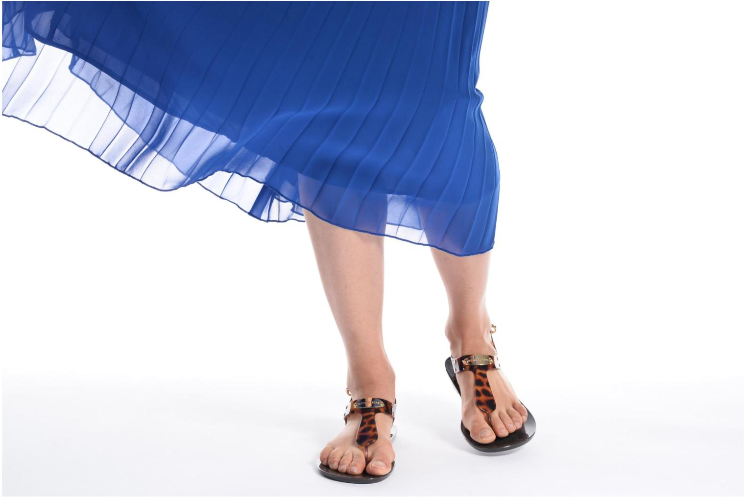 Sandals Michael Michael Kors MK Plate Jelly Brown view from underneath / model view
