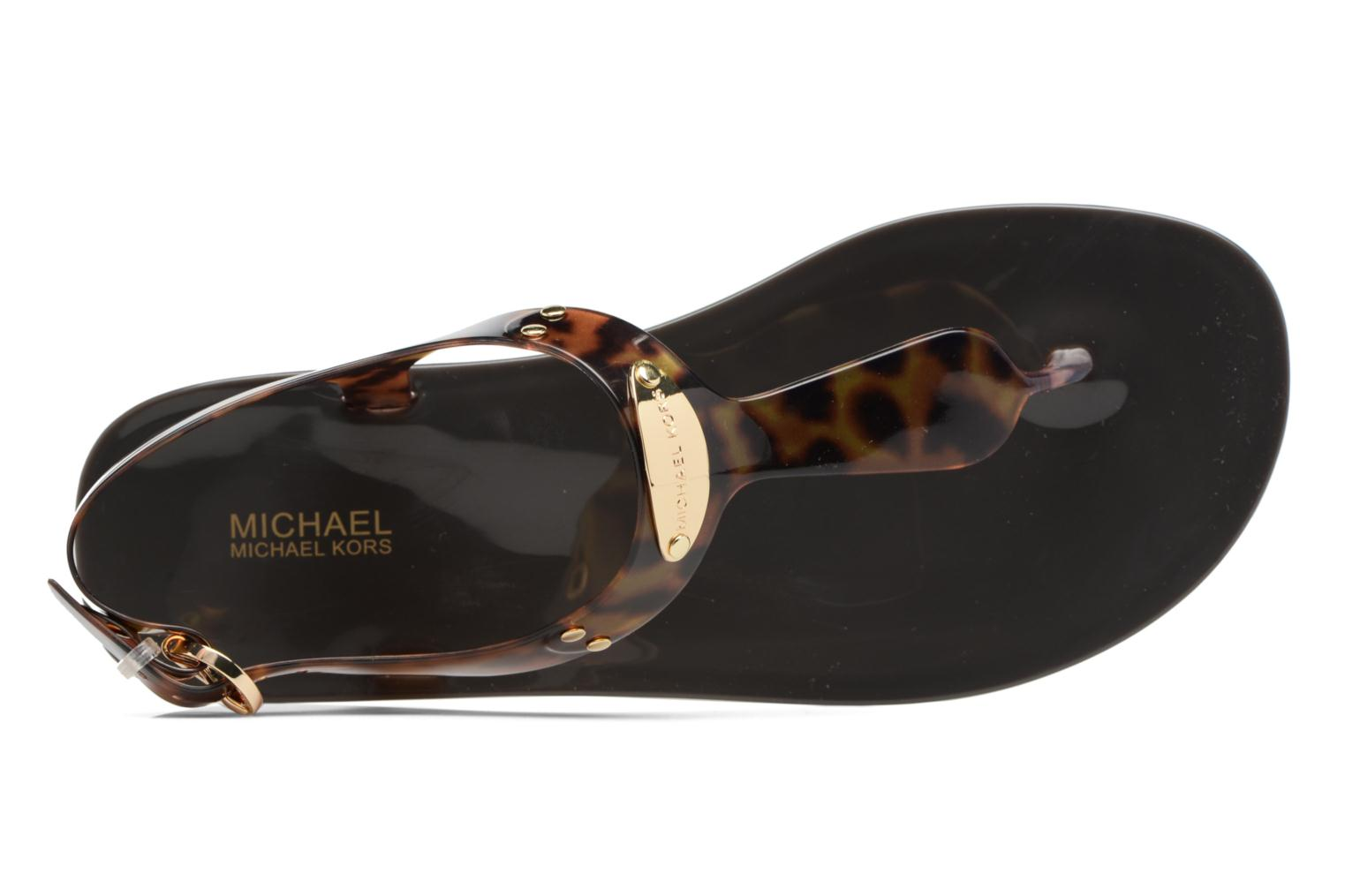 Sandals Michael Michael Kors MK Plate Jelly Brown view from the left