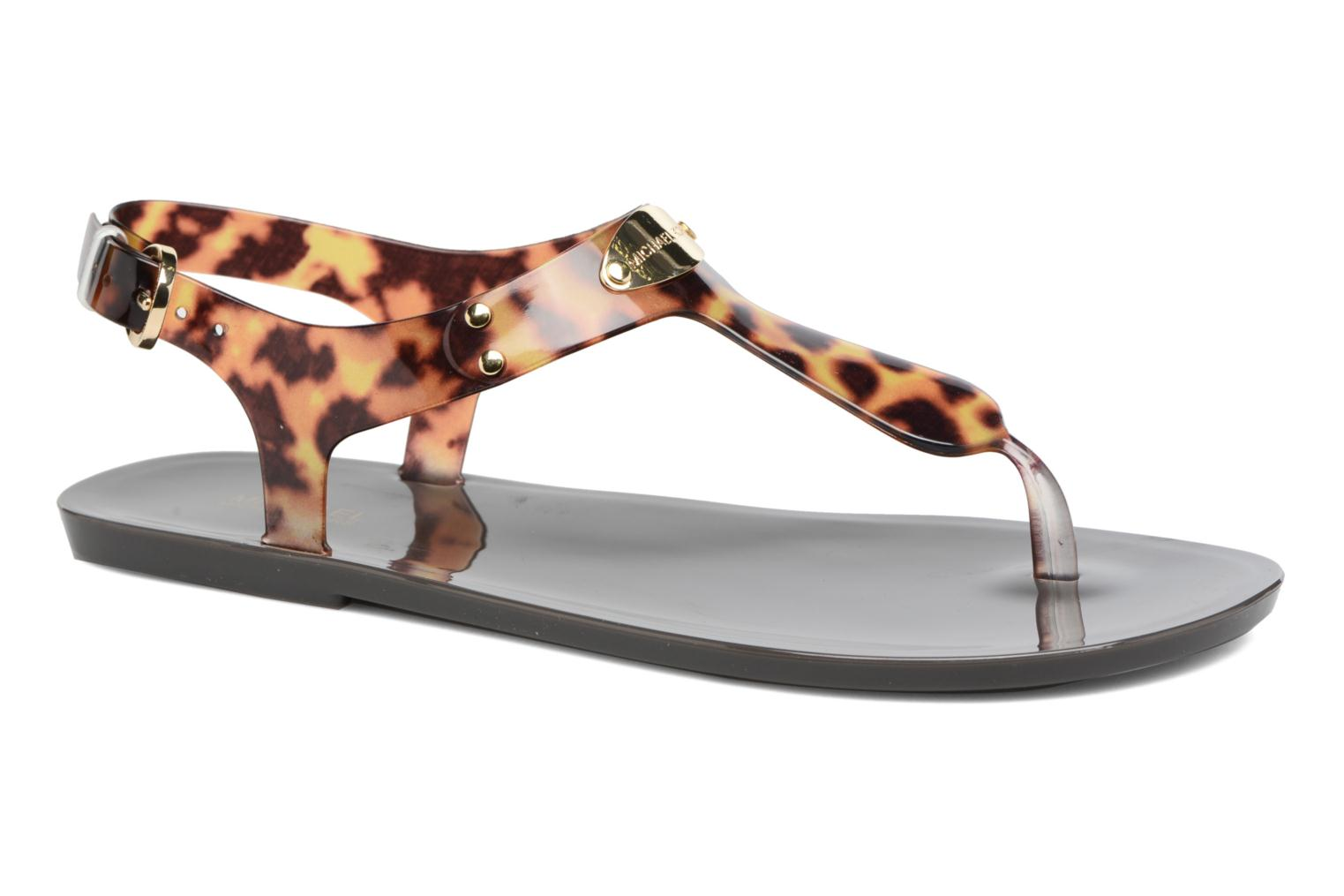 Sandals Michael Michael Kors MK Plate Jelly Brown detailed view/ Pair view