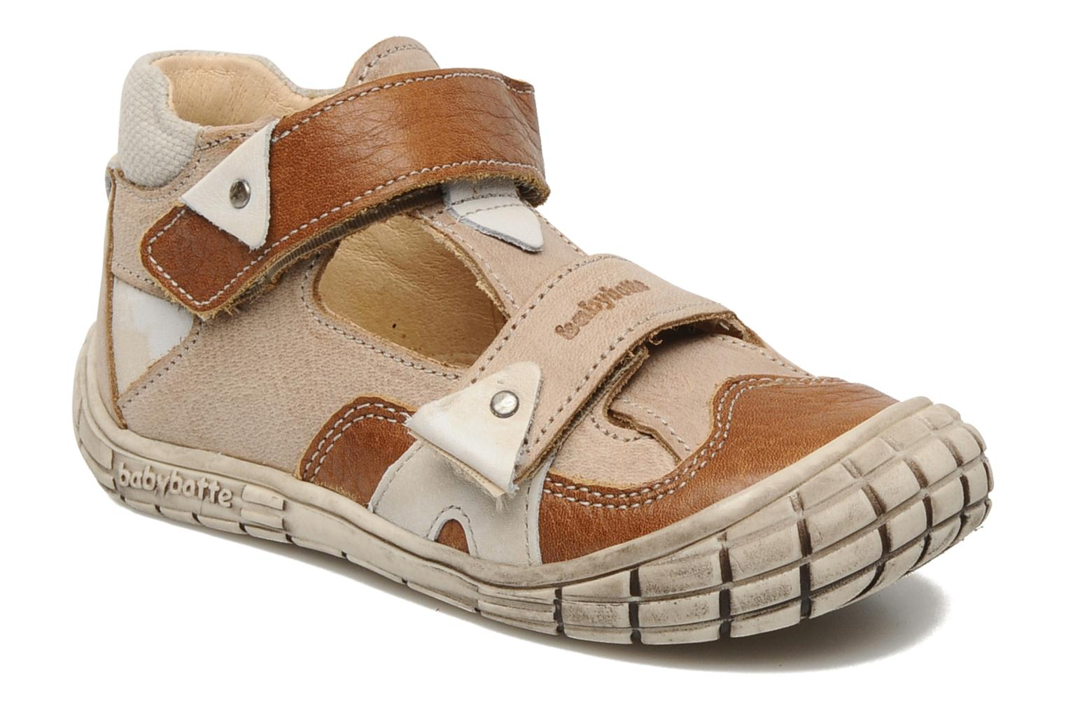 Velcro shoes Babybotte Shamalo Brown detailed view/ Pair view