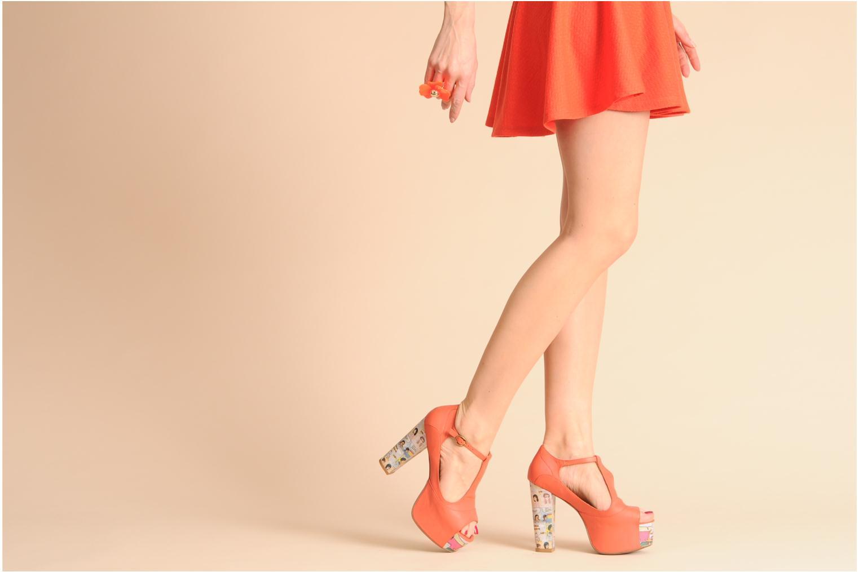 Sandals Jeffrey Campbell Foxy - Cartoon Heel Orange view from underneath / model view