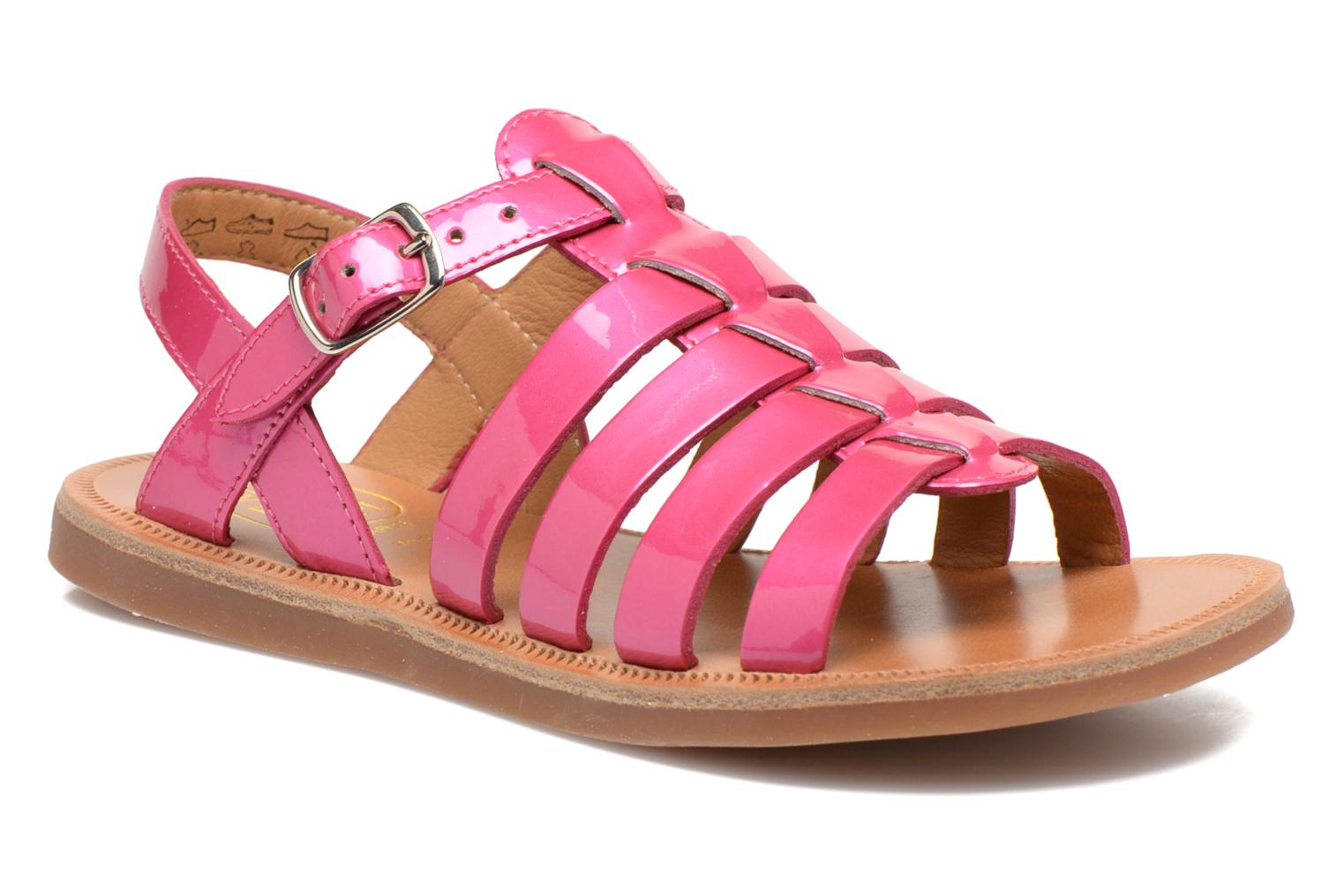 Sandals Pom d Api Plagette Strap Pink detailed view/ Pair view