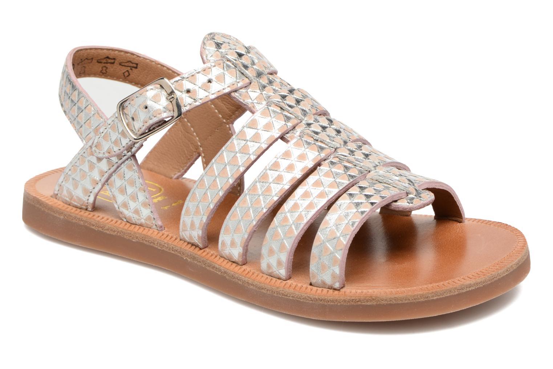 Sandales et nu-pieds Pom d Api Plagette Strap Argent vue détail/paire