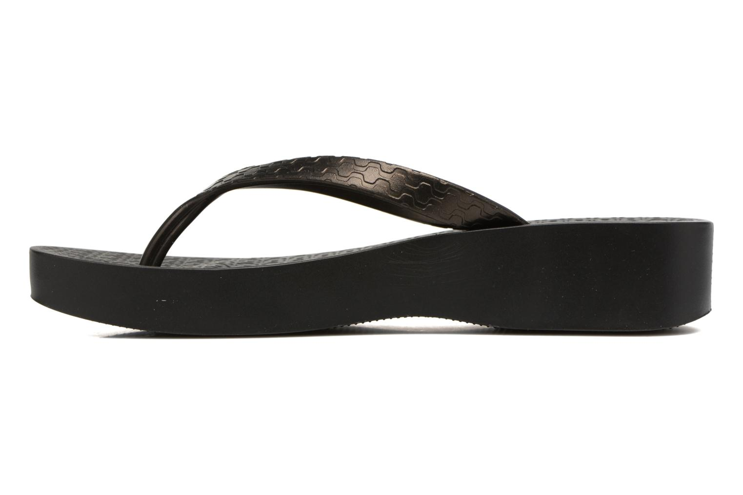 Tongs Ipanema Brasil Tropical Plat Fem Noir vue face