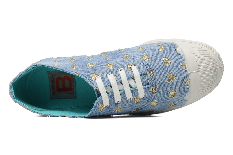 Baskets Bensimon Tennis Glitter Love Bleu vue gauche