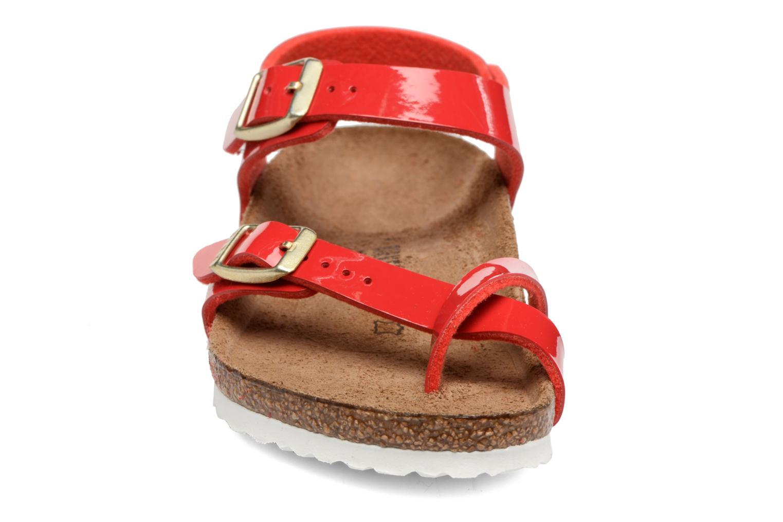 Sandalen Birkenstock Taormina Birko-Flor rot schuhe getragen