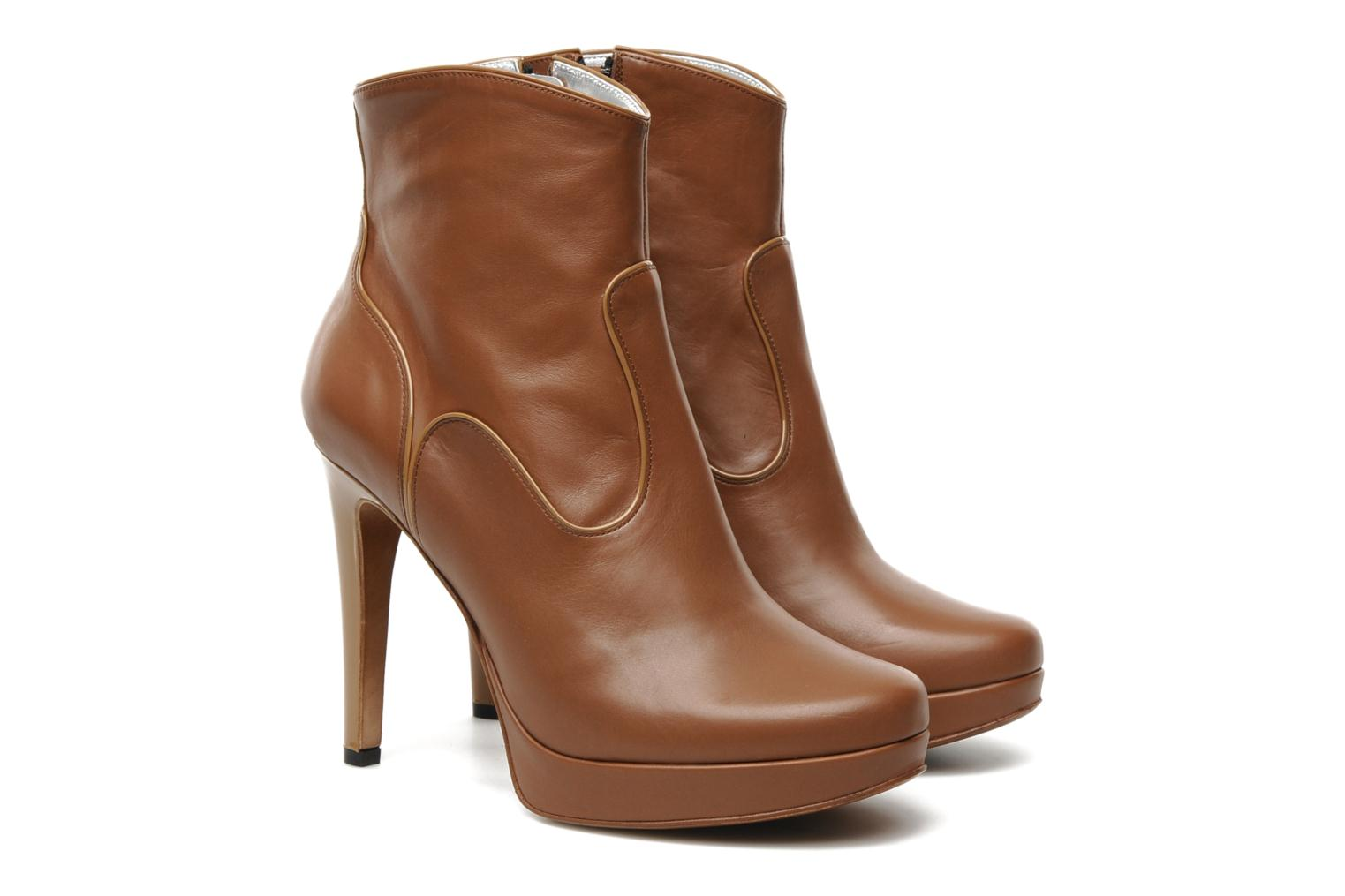 Keissy 7 zip boot piping vernis/veau marron