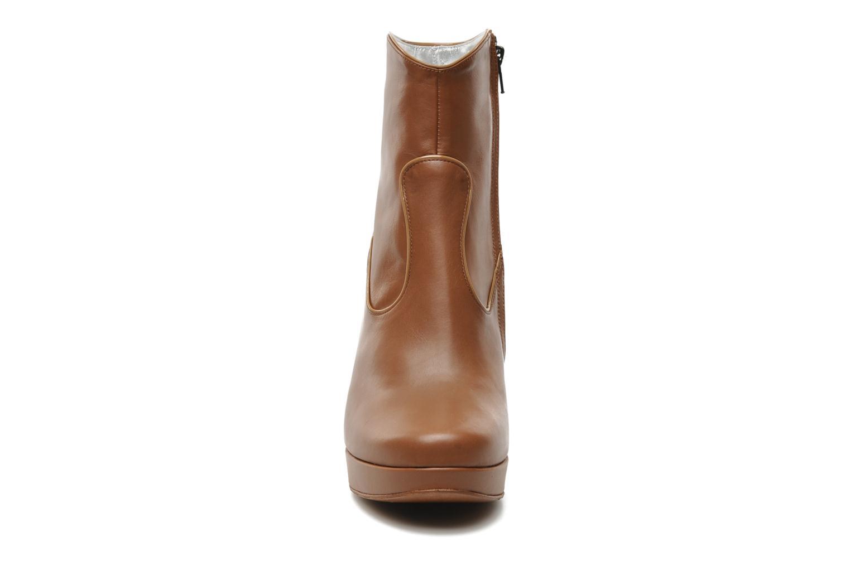 Keissy 7 zip boot piping vernis/veau marron