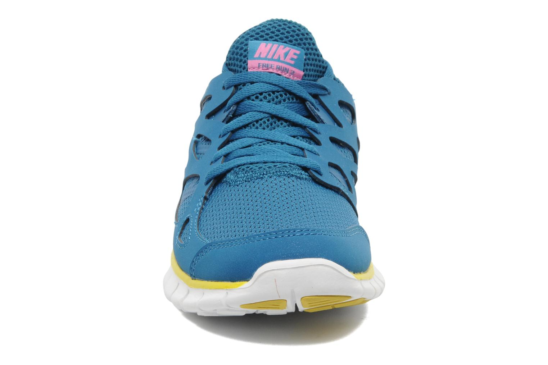 Chaussures de sport Nike Wmns Nike Free Run+ 2 Ext Bleu vue portées chaussures