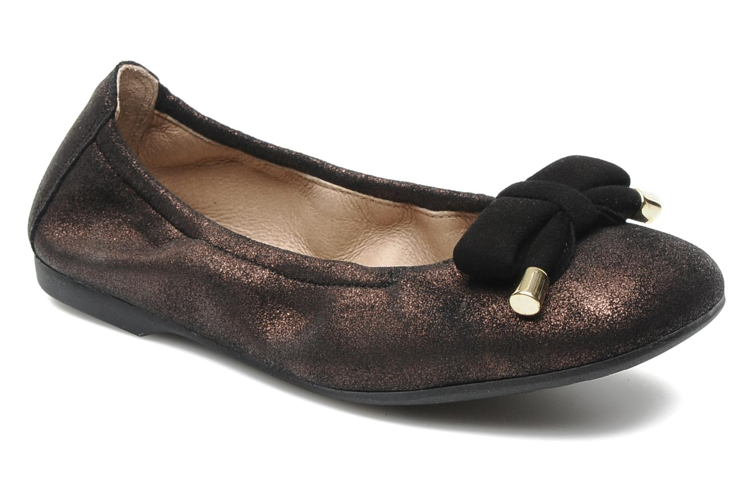 Ballet pumps Unisa Buffy Bronze and Gold detailed view/ Pair view