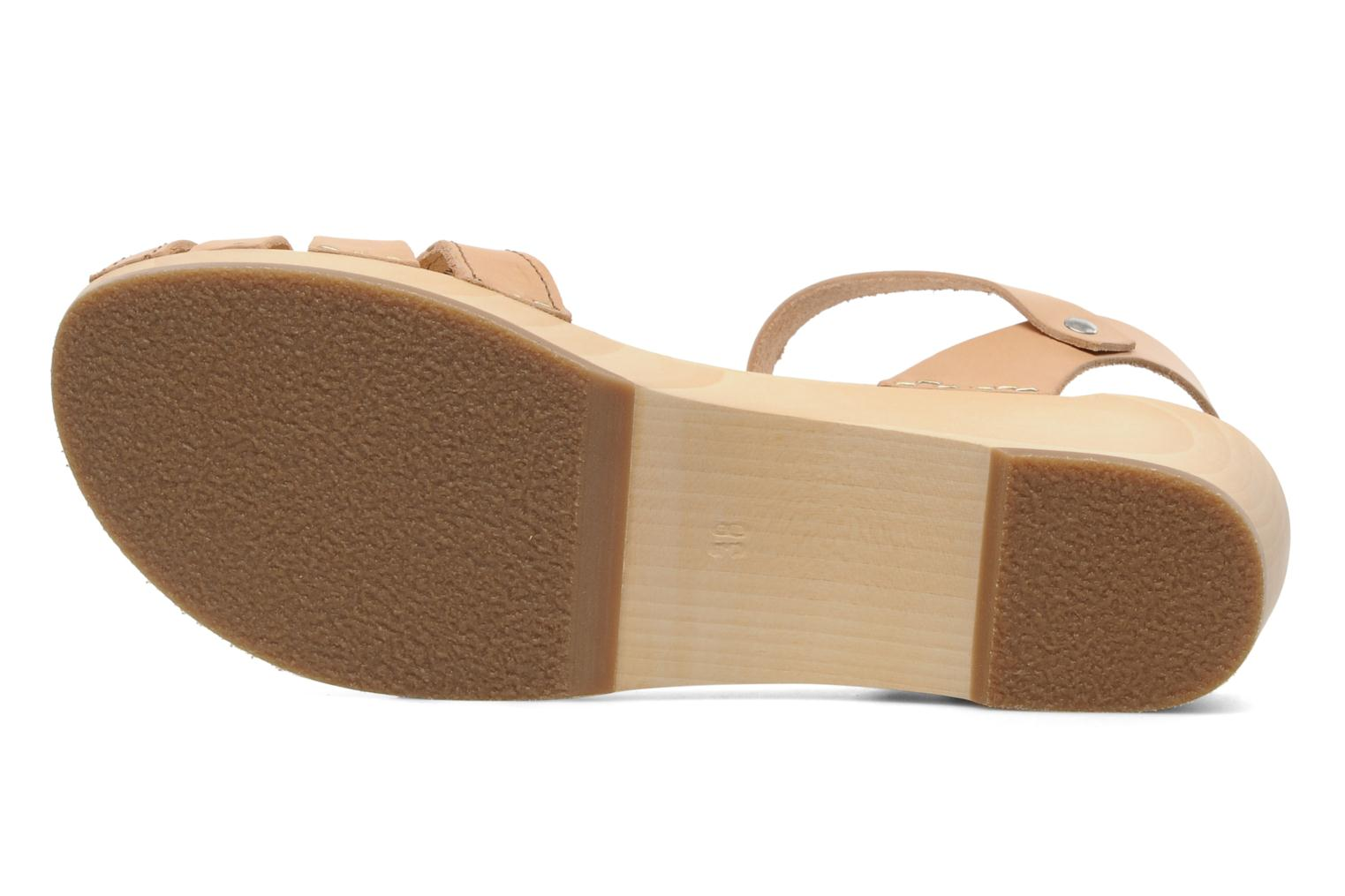 Sandals Swedish Hasbeens Cross Strap Debutant Beige view from above