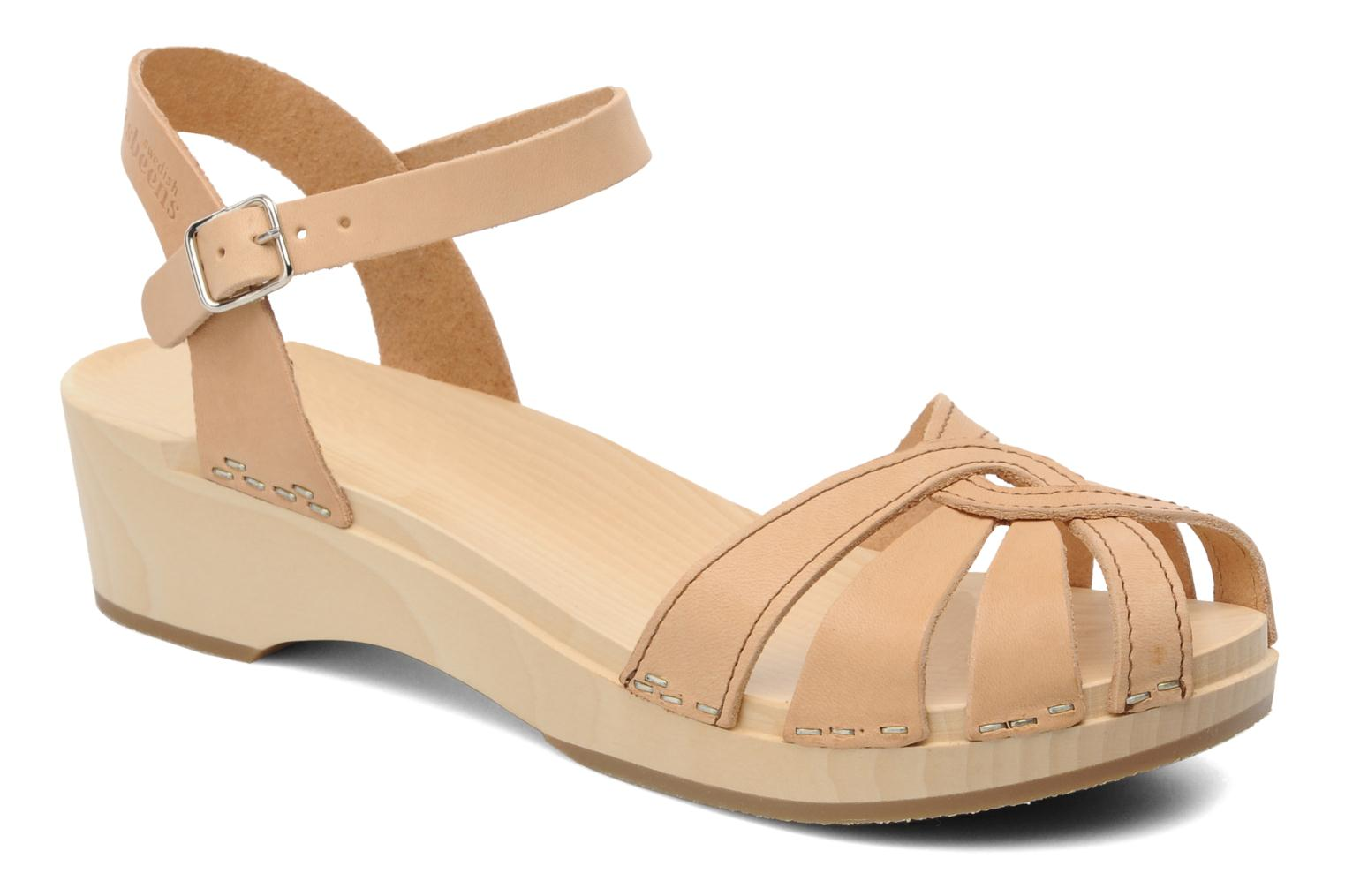 Sandals Swedish Hasbeens Cross Strap Debutant Beige detailed view/ Pair view