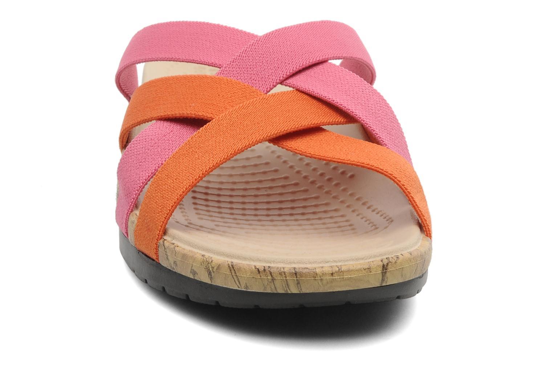 Mules et sabots Crocs Crocs Edie Stretch Sandal W Rose vue portées chaussures