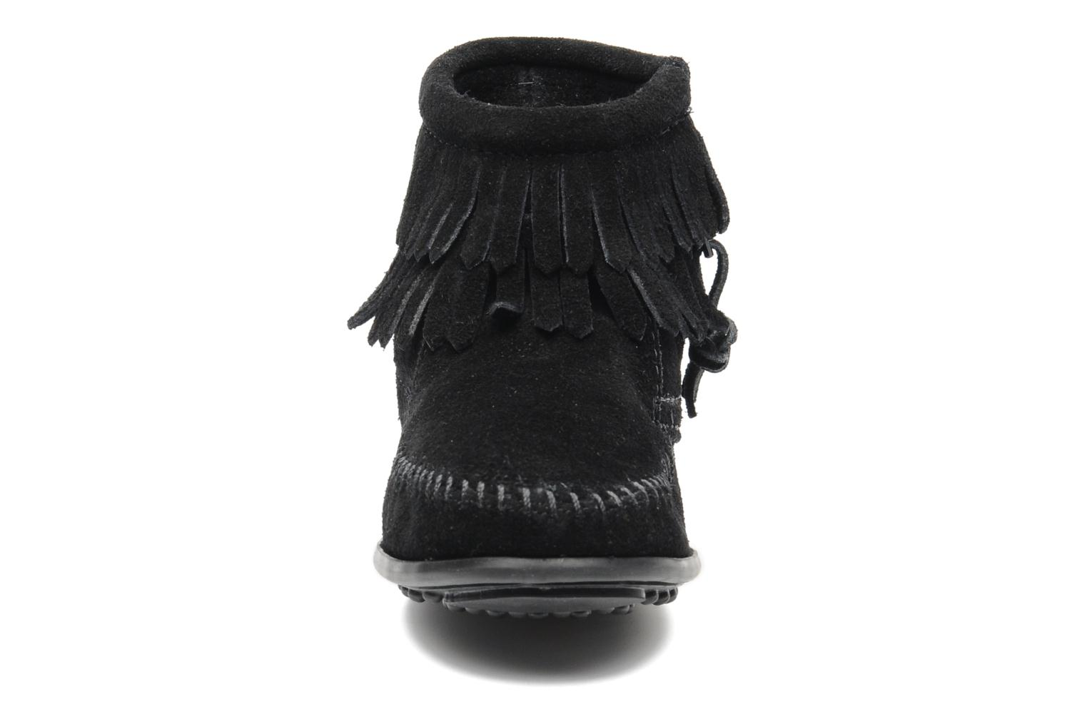 Ankle boots Minnetonka Double Fringe bootie G Black model view