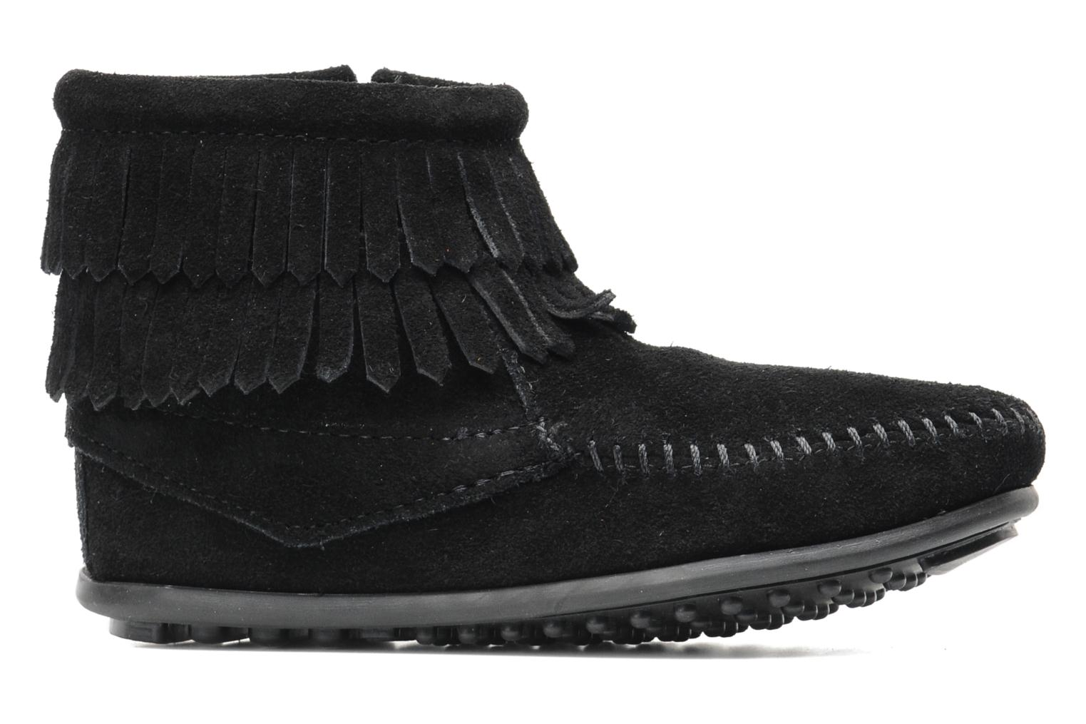 Ankle boots Minnetonka Double Fringe bootie G Black back view