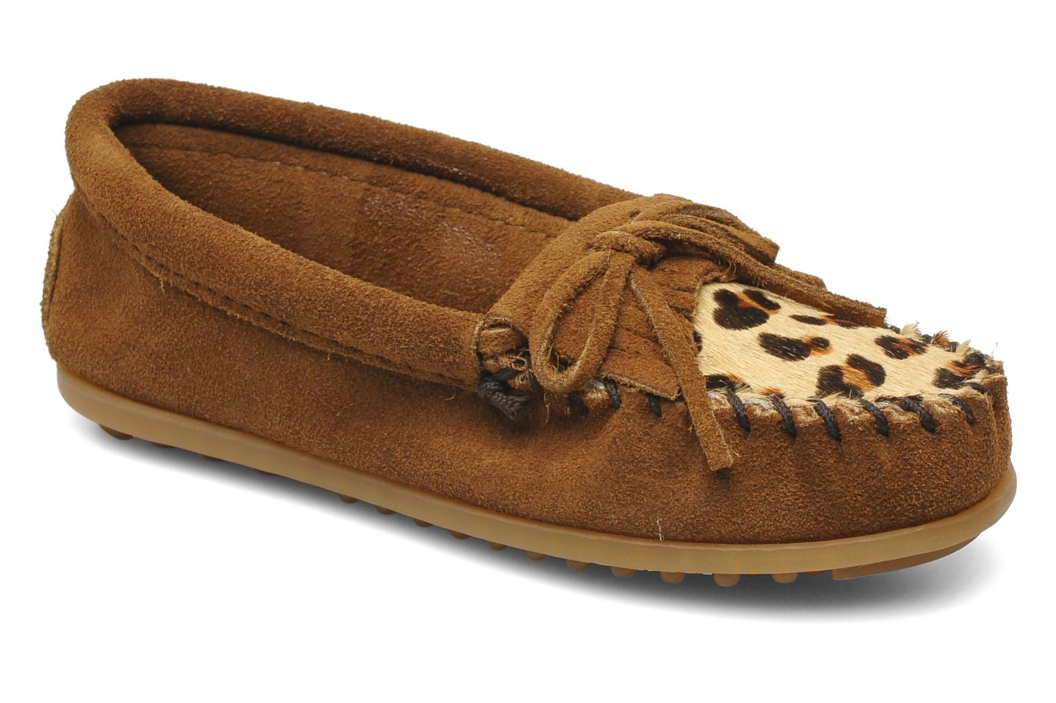 Loafers Minnetonka Leopard Kilty Moc G Brown detailed view/ Pair view