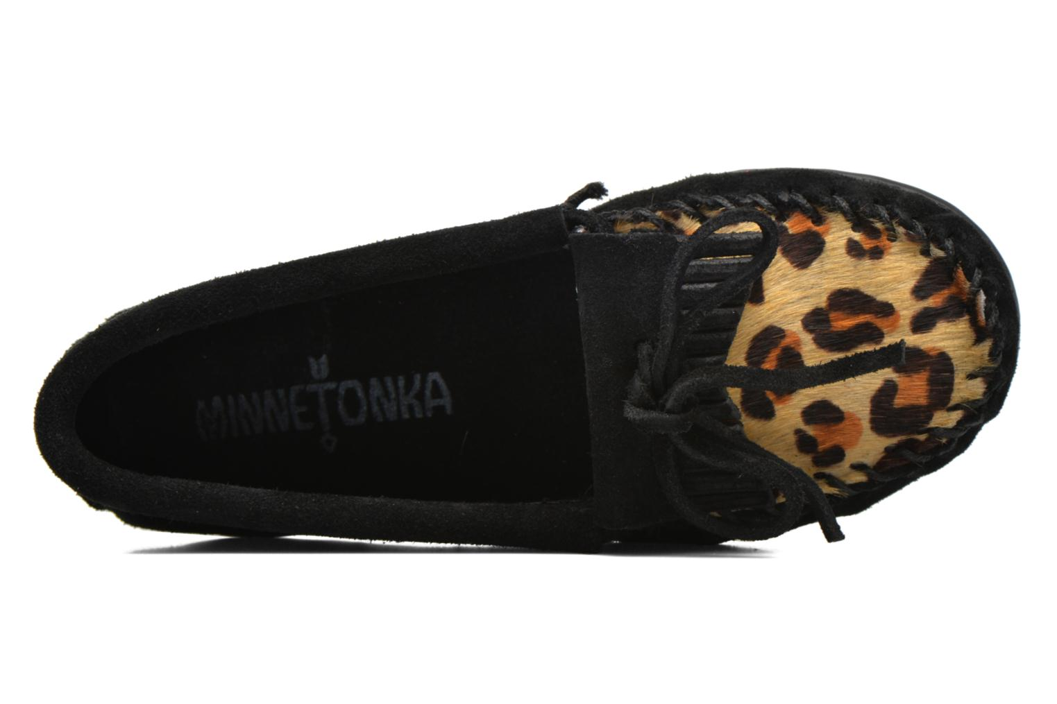 Loafers Minnetonka Leopard Kilty Moc G Black view from the left