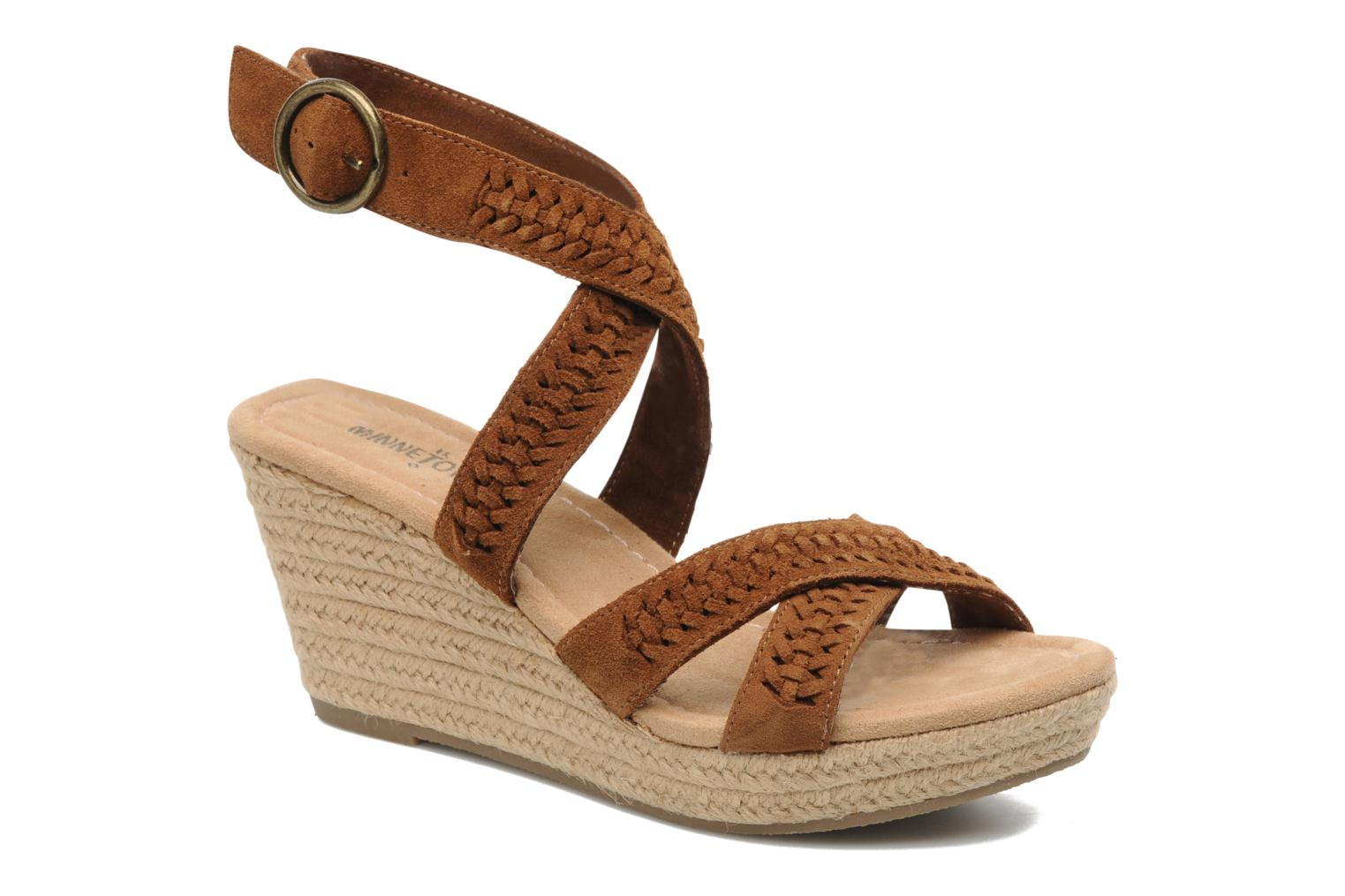 Sandals Minnetonka Haley Brown detailed view/ Pair view