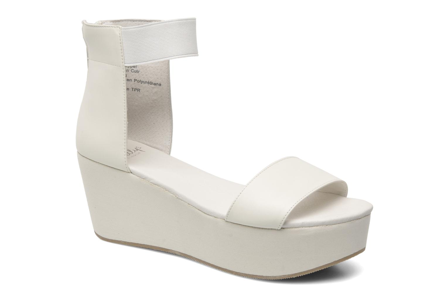 Sandals Shellys London MAGNI White detailed view/ Pair view