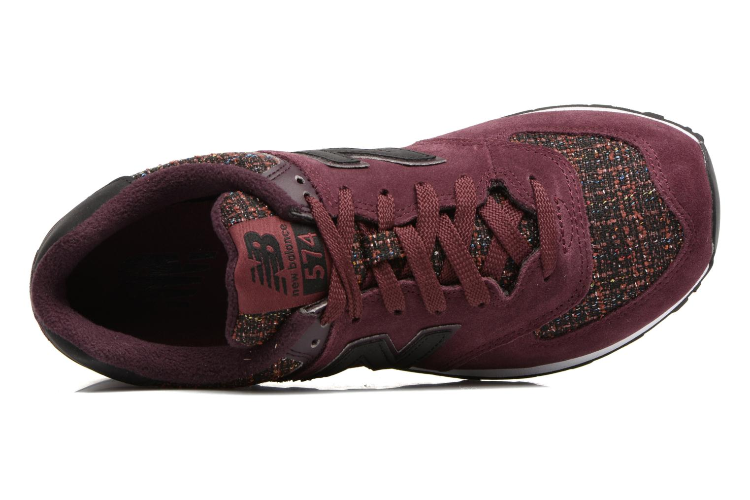 Trainers New Balance WL574 Burgundy view from the left