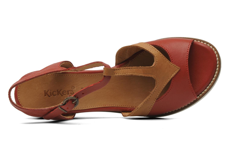 Sandalen Kickers Seshuan rot ansicht von links