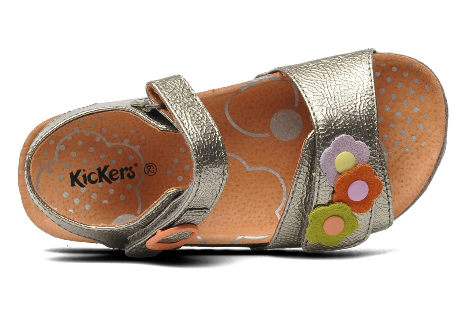 Sandalen Kickers Magiflower Zilver links
