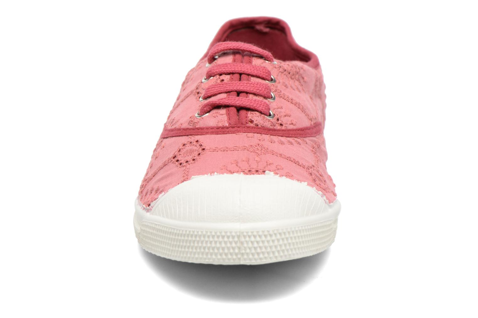 Baskets Bensimon Tennis Broderie Anglaise Rose vue portées chaussures