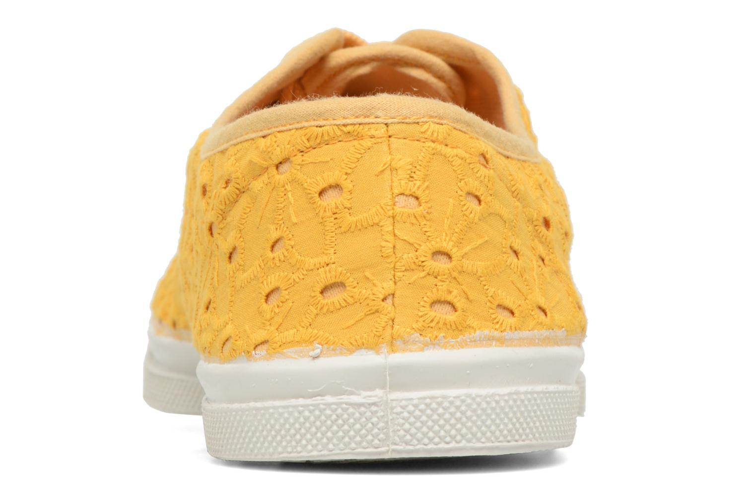 Trainers Bensimon Tennis Broderie Anglaise Yellow view from the right
