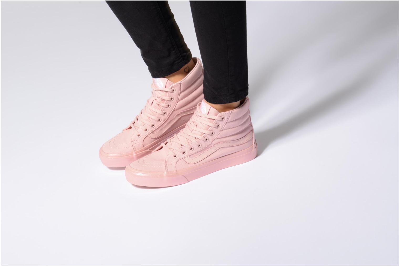 Sneaker Vans Sk8-Hi Slim W grau ansicht von unten / tasche getragen