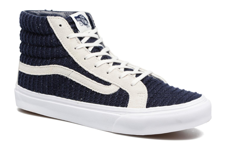 Sk8-Hi Slim W (Suede/Woven) Navy Blue/True White