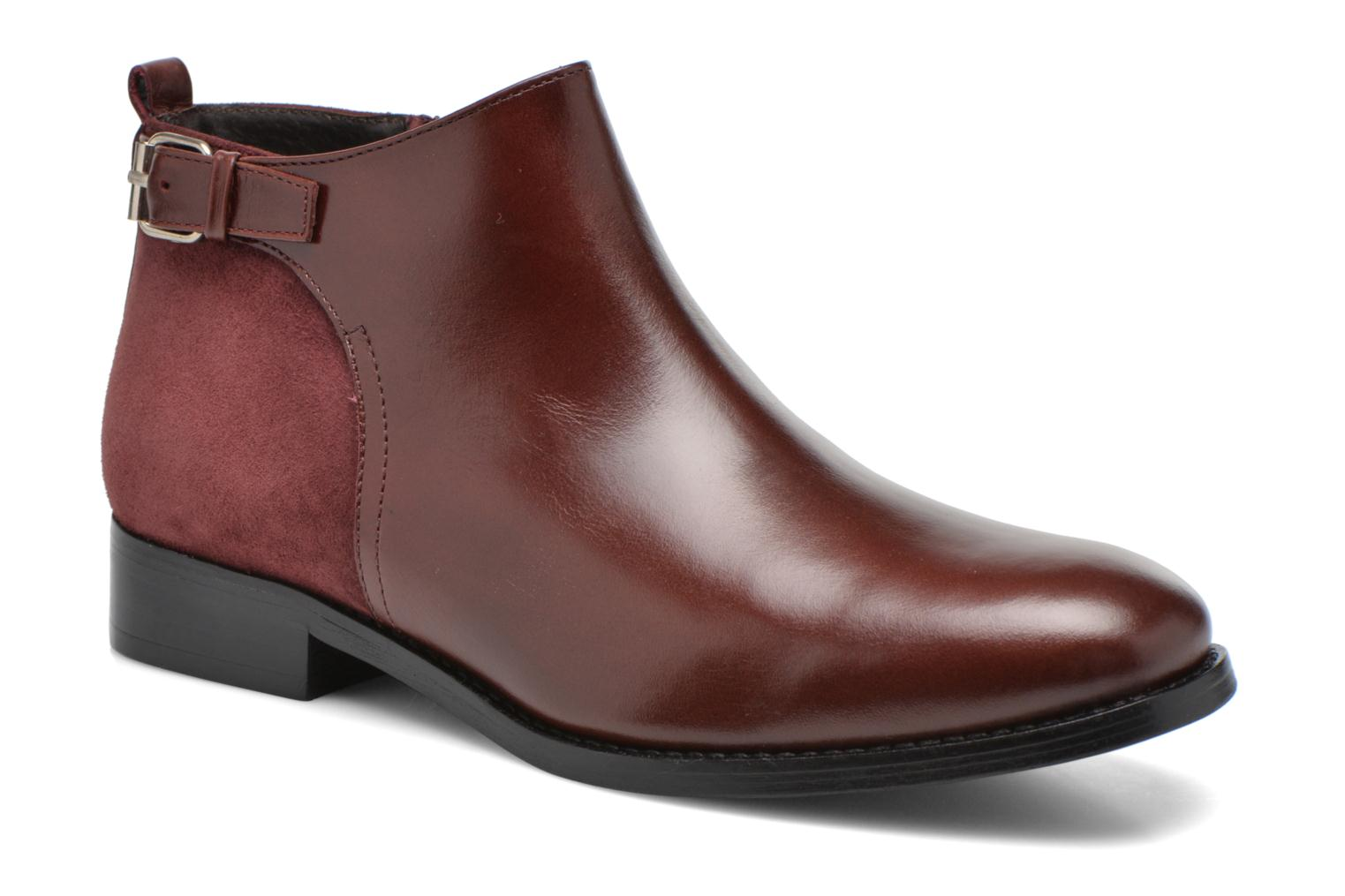 Ankle boots Georgia Rose Tatouille Burgundy detailed view/ Pair view