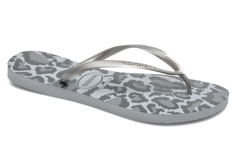 Flip flops Havaianas Slim Animals Grey detailed view/ Pair view