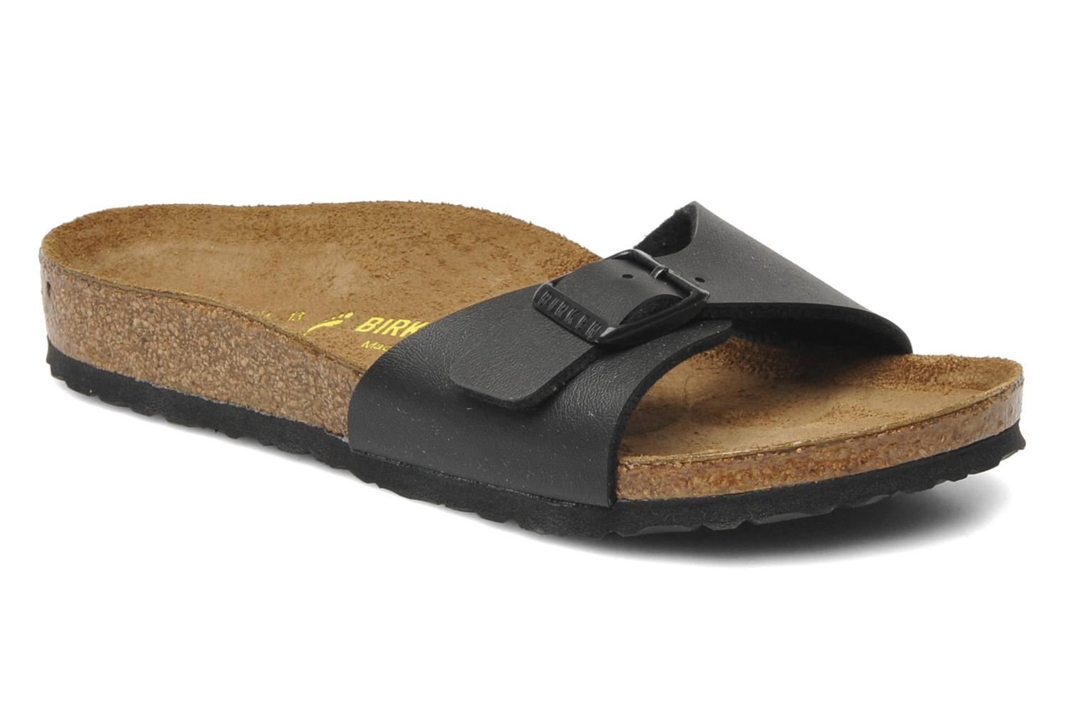Sandals Birkenstock Madrid Birko Flor Black detailed view/ Pair view