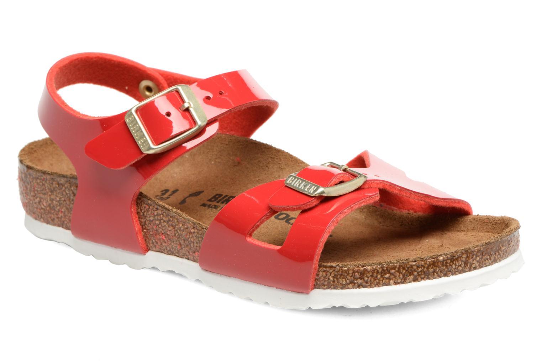 Sandaler Birkenstock Rio Birko Flor Rød detaljeret billede af skoene