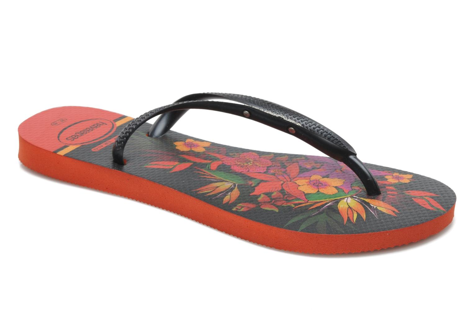 Tongs Havaianas Slim Tropical Noir vue détail/paire